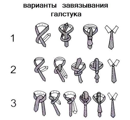 Варианты завязывания галстука
