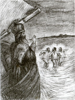 Три рыбака бегут по воде