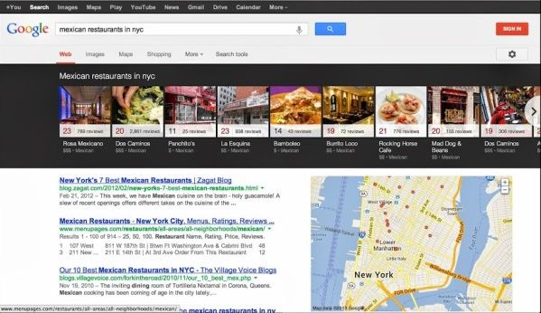 новый вид выдачи Google